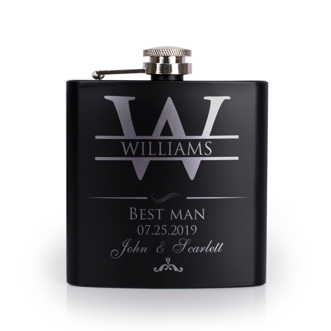 Personalized Black Flask - Design 3