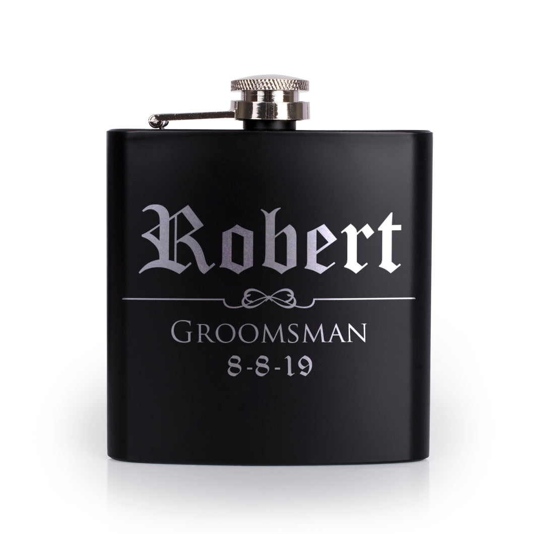 Personalized Black Flask - Design 5