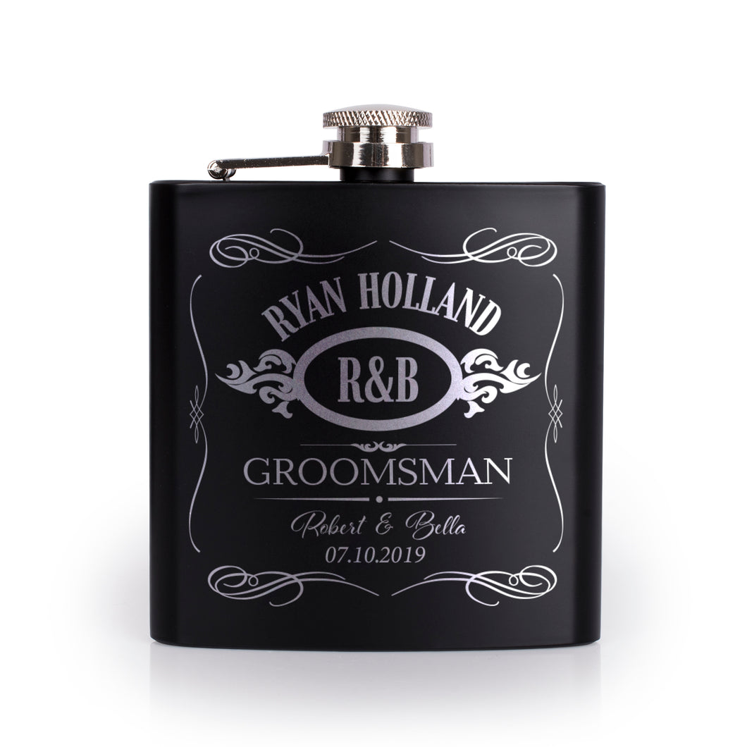 Personalized Black Flask - Design 6