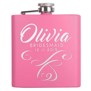 Personalized Pink Flask - Design 2
