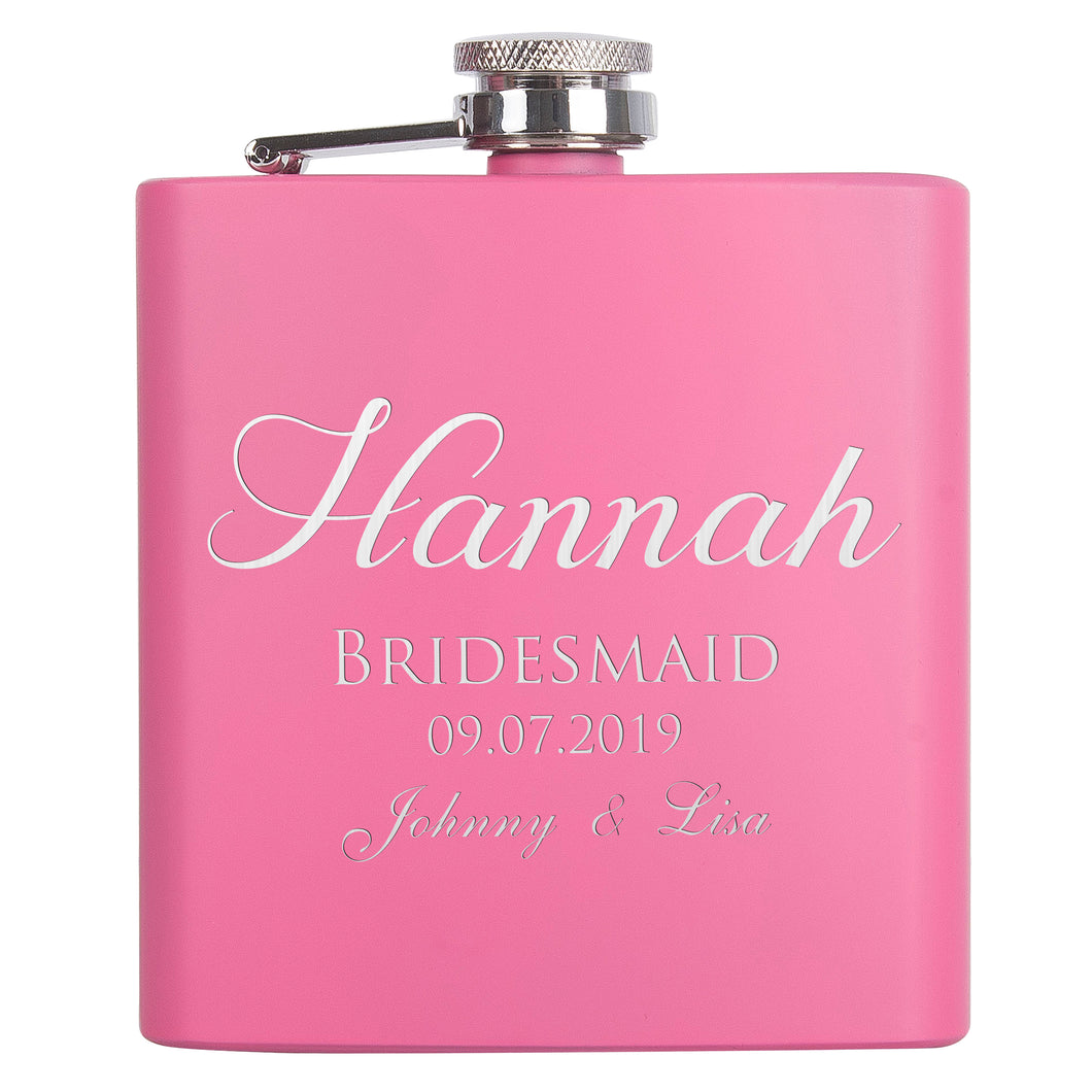 Personalized Pink Flask - Design 4