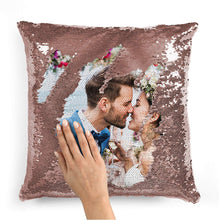 Load image into Gallery viewer, Pillow Case Photo Sequin Rose Gold