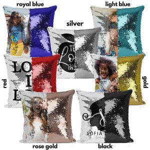Pillow Case Photo Sequin Black