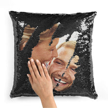 Load image into Gallery viewer, Pillow Case Photo Sequin Black