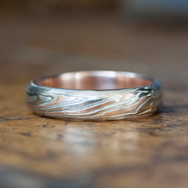 The Mokume Gane Rose Gold Band