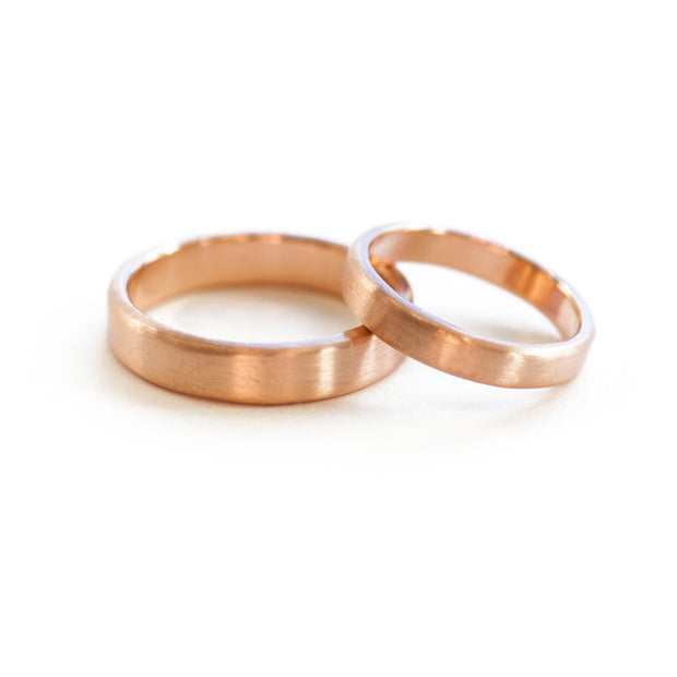 Simple rose gold wedding band 14k ethical gold handmade in Vermont using ethical sourcing