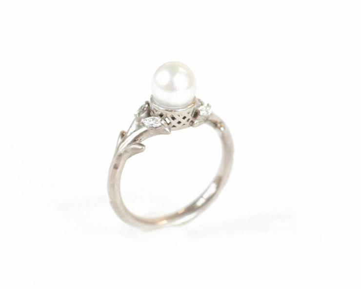 The Pearl Olive Branch Ring