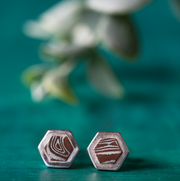 Copper Mokume Hexagon Studs