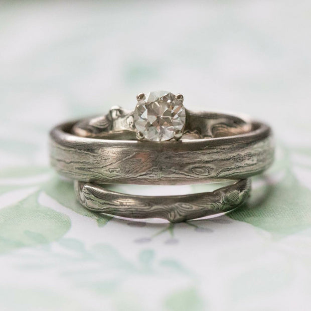 Diamond and Mokume Notched Solitaire