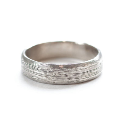 The Mokume Gane White Gold Band