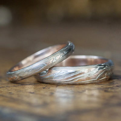Mokume Gane Rose Gold Band