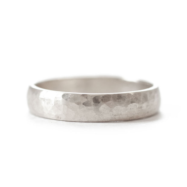White Gold Hammered Band