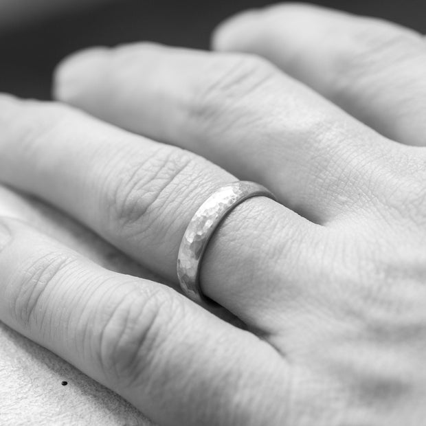 Hammered White Gold Wedding Band