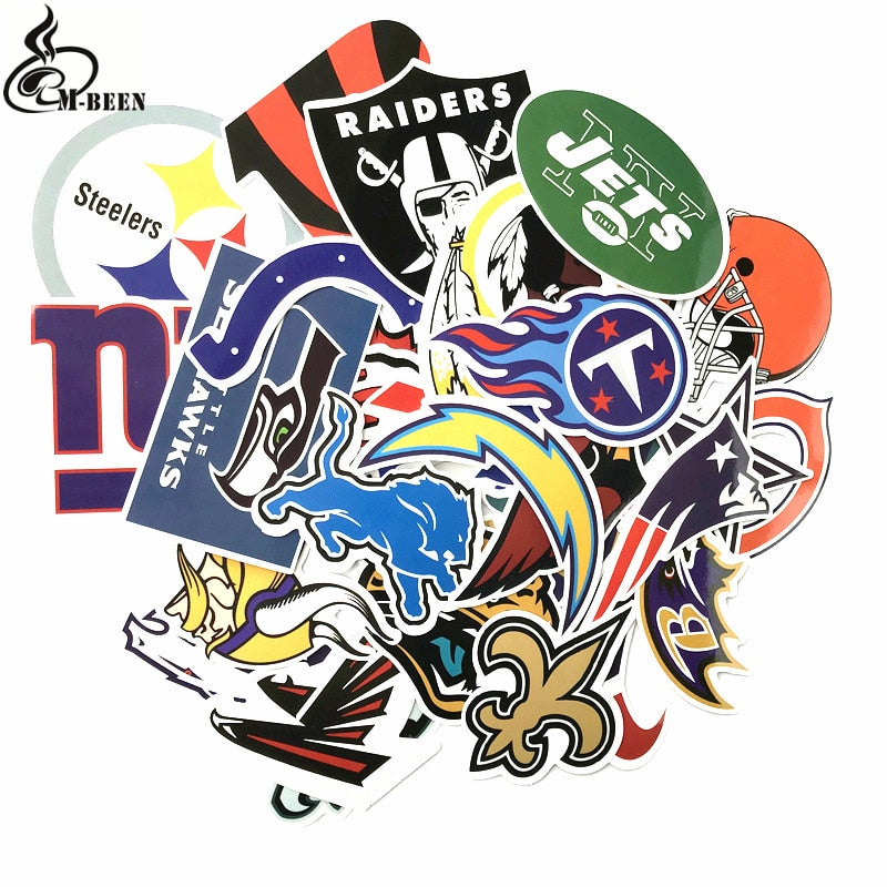 32pcs NFL American football stickers skateboard decal Notebook trolley case backpack Table PVC car DIY Cool waterproof sticker
