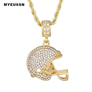 Rugby Helmet Pendant Sport Style For Men Iced Out Chain Shining Crystal Gold/Silver Charm Football Necklace Pendant  NFL Helmet
