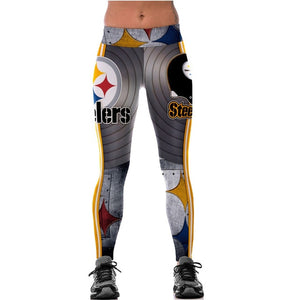 Unisex Football Team Steelers Print Tight Pants Workout Gym Training Running Yoga Sport Fitness Exercise Leggings Dropshipping