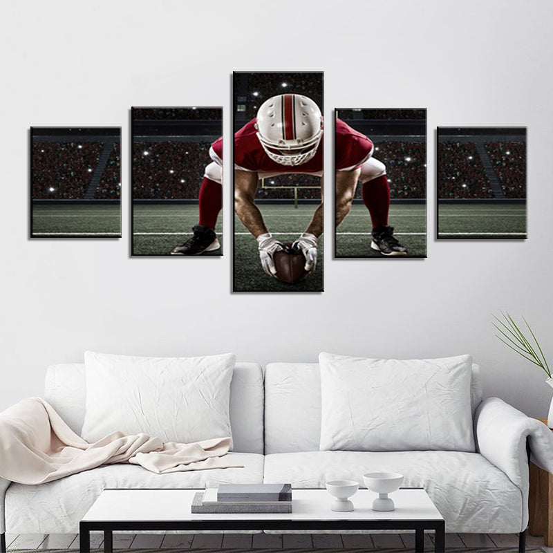American Football Football Player with Red Uniform Contemporary Wall Art Pictures Canvas NFL Sports Painting Artwork Home Decor