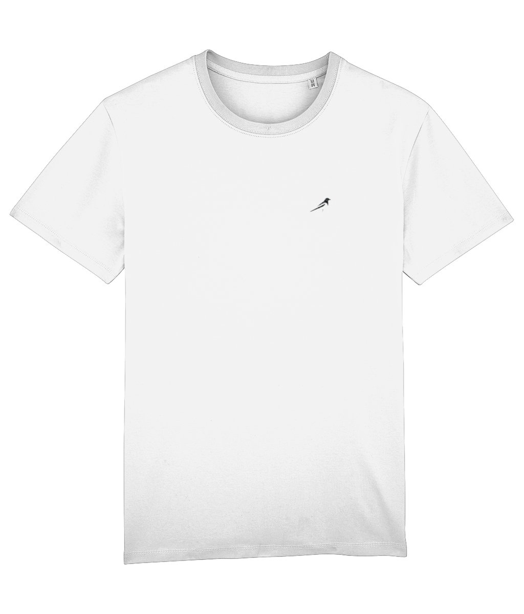 Magpie Embroidered White Mens T-Shirt