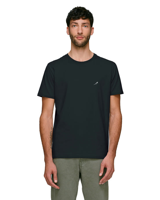 Magpie Embroidered Black Mens T-Shirt