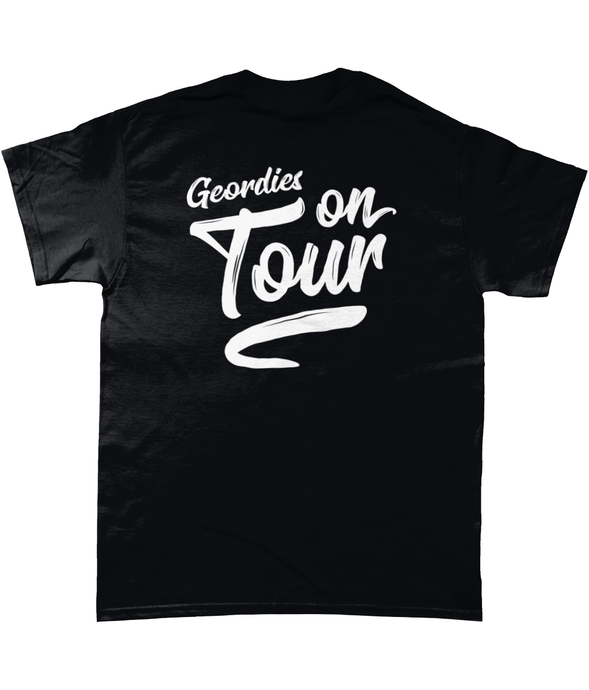 'Geordies On Tour' Reverse Print Mens T-Shirt