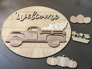 Interchangeable Welcome Sign, Side View Truck, 4 shapes included (pictured)