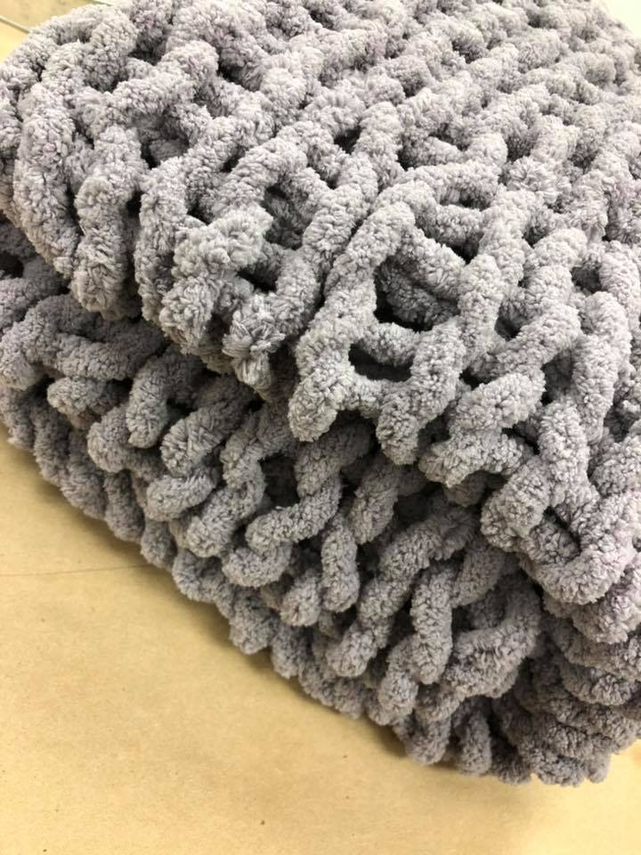 Gray Bulky-Weave Style Blanket - shipping option