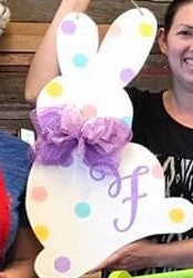 "22"" Bunny Door Hanger (does not include bows)  Please tell us the stain and paint colors and any name you would like in the customization box."