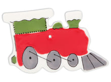 Load image into Gallery viewer, Set 3: 5 Ceramic Ornaments - stocking, tree, train, sleigh, ginger bread man