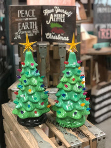 November 9th PUBLIC- Saturday at 1 pm- Ceramic Christmas Trees and Ginger Bread House Workshop