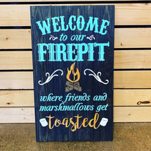 "Load image into Gallery viewer, 14"" x 17"" Welcome to Our Fire Pit Pallet Sign"