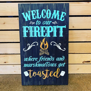 "14"" x 17"" Welcome to Our Fire Pit Pallet Sign"