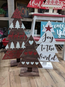 Trio Trees - Table Top (please type in design you want for each tree in the personalization box as well as colors for background stain and paint)