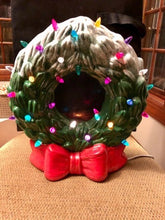 "Load image into Gallery viewer, Ceramic Light Up Wreath w/ Bow (12"" high) Paint at Home- Take Home Kit"