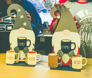 Gnome w/ interchangeable Mugs (3)- Take Home Kit--enter your three words fr the mugs in the customization box