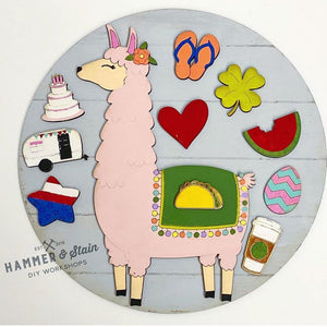 "11"" Round Interchangeable Gnome or Llama Kit (all pieces, paint, brushes included)"
