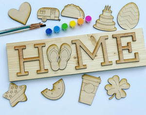 "Order now - WE PAINT FOR YOU: Interchangeable Home Sign  6"" x 20"" (all pieces)"