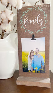 "Photo Clip Board w ""Family"" (please tell us your colors in the personalization field)"
