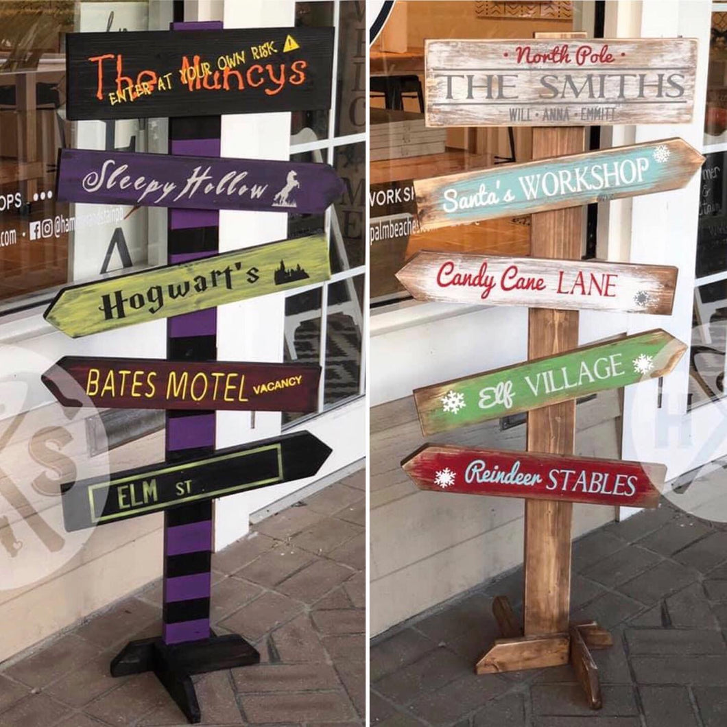 September 28th Saturday 5 pm Holiday Directional sign Workshop