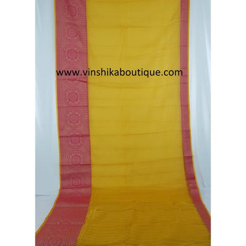 Yellow and pink kota saree with banarasi border - Vinshika