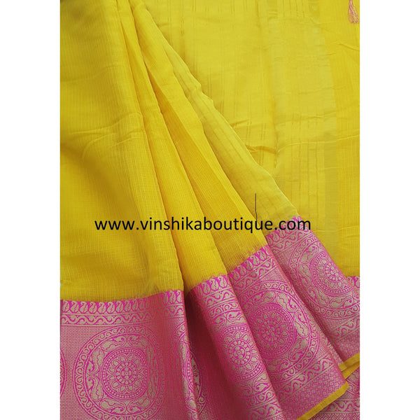 Yellow and pink kota saree with banarasi border