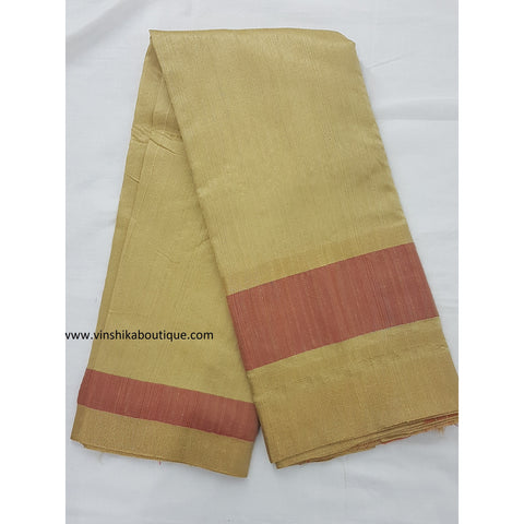 Pure raw silk half white and peach color saree - Vinshika