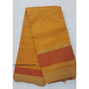 Pure raw silk mustard yellow and maroon saree - Vinshika