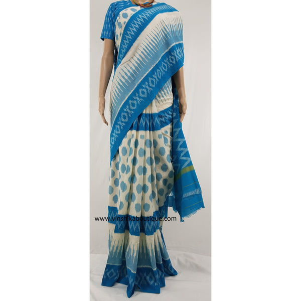 Ikat cream and blue handwoven mercerized cotton saree