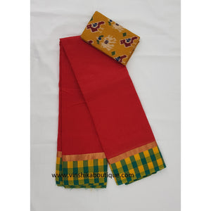Red color semi silk cotton saree - Vinshika