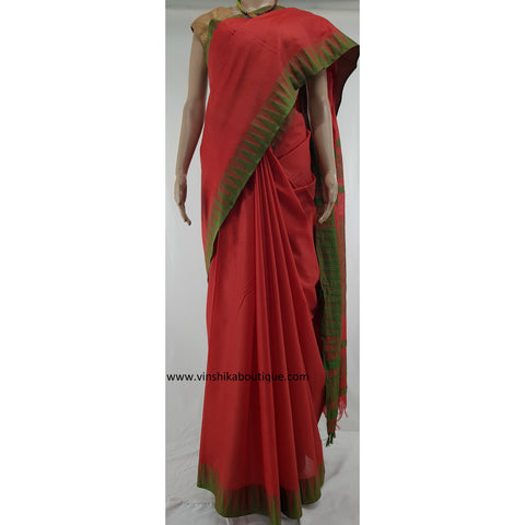 Kota cotton silk saree with checked blouse - Vinshika