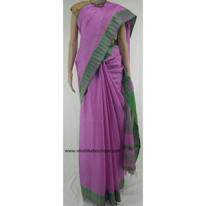 Kota cotton silk saree with checked blouse