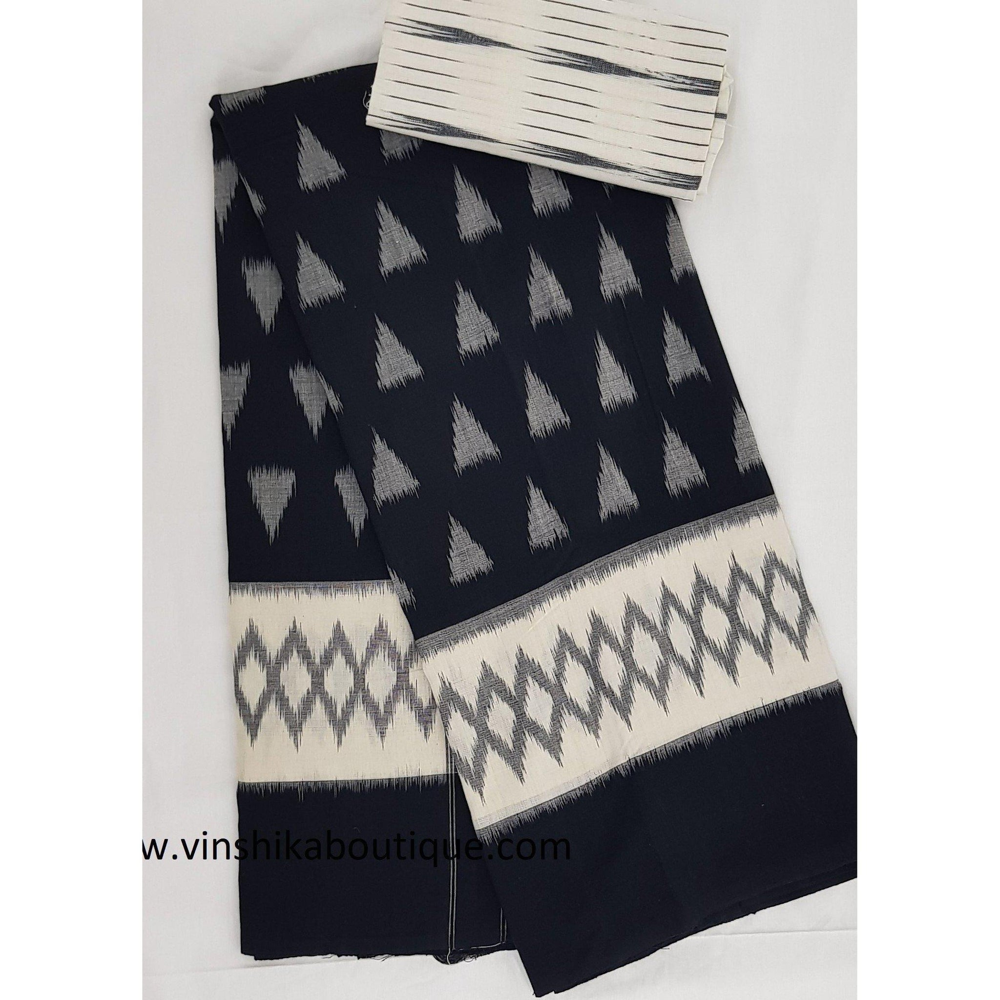 Ikat black and white color handwoven mercerized cotton saree - Vinshika