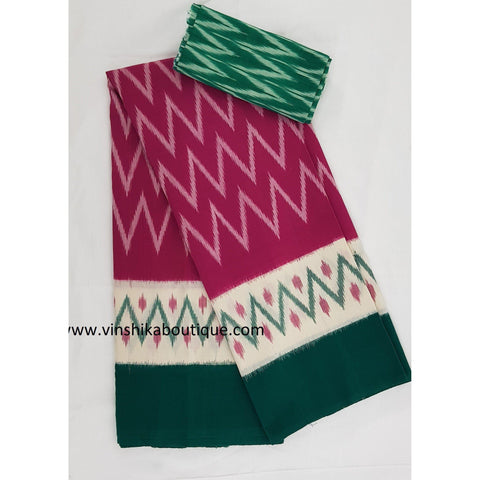Ikat pink and green color handwoven mercerized cotton saree - Vinshika