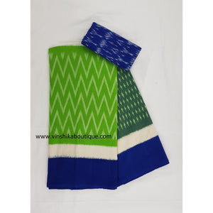 Ikat green and pink color handwoven mercerized cotton saree