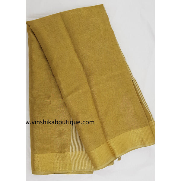 Linen tissue golden saree - Vinshika